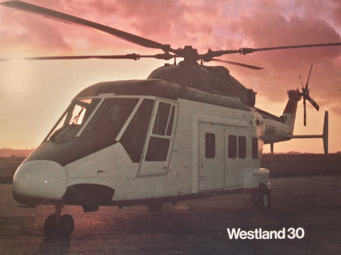 "Westland 30, Series 100 Helicopter Original Sales Brochure Booklet, 21 page  8.5 x 11.75""."