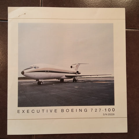 "Executive Boeing 727-100 Original Sales Brochure, TriFold, 8 x 8.5""."