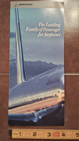 "Boeing ""The Leading Family"" Original Sales Brochure, 16 page Foldout, 4 x 9""."