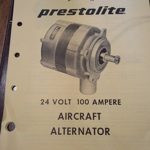 Prestolite Aircraft Alternator 24 Volt, 100 Ampere Service Data Tech Sheets.