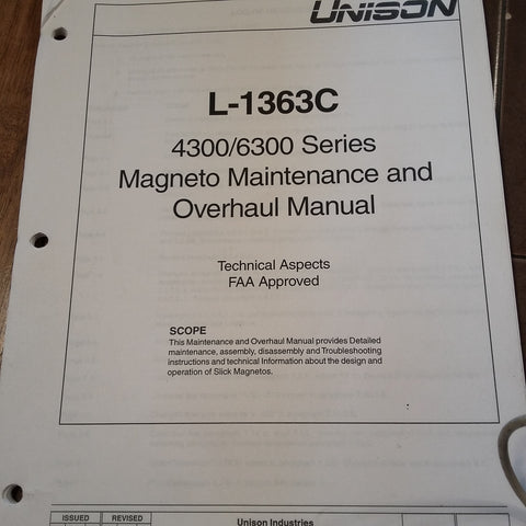 Unison 4300 & 6300 Series Magneto Service & Overhaul Manual .