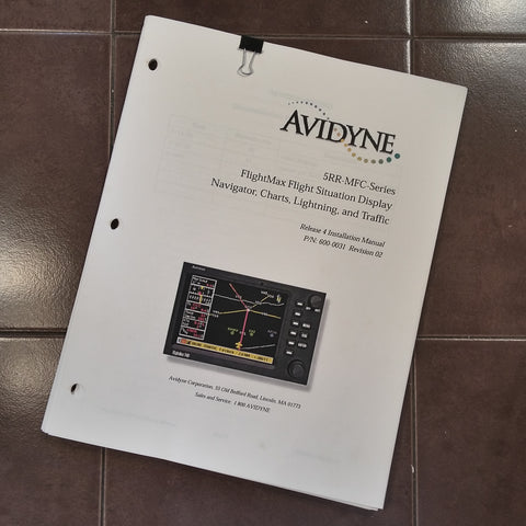 Avidyne FlightMax 5RR-MFC Install Manual.