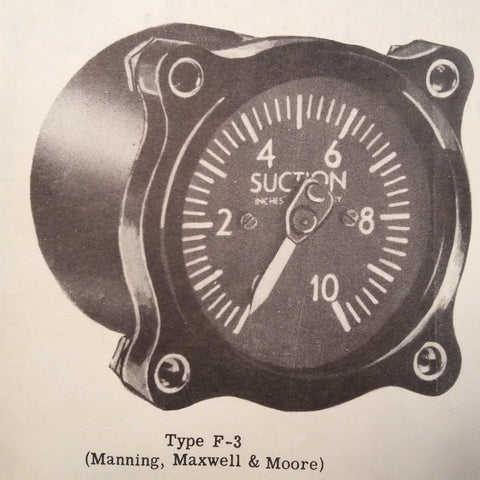 1943 Kollsman, US Gauge, Pioneer, Manning Maxwell Suction Guages Overhaul & Parts Manual.