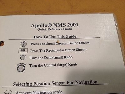 Apollo NMS 2001 GPS Laminated Quick Reference Guide.