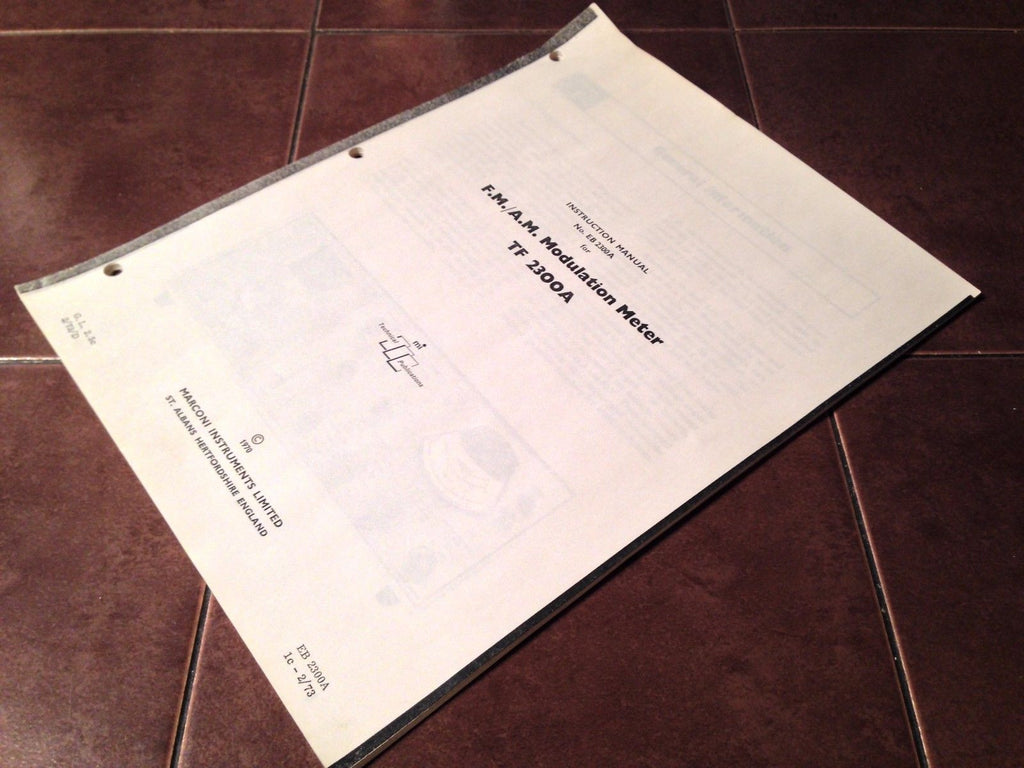 Marconi FM/AM Modulation Meter Model TF 2300A Instruction Manual.