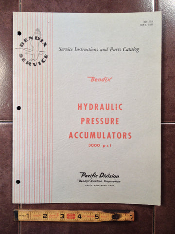 1950 Bendix Hydraulic Pressure Accumulators 405525, 405554, 406920 Service & Parts Manual.
