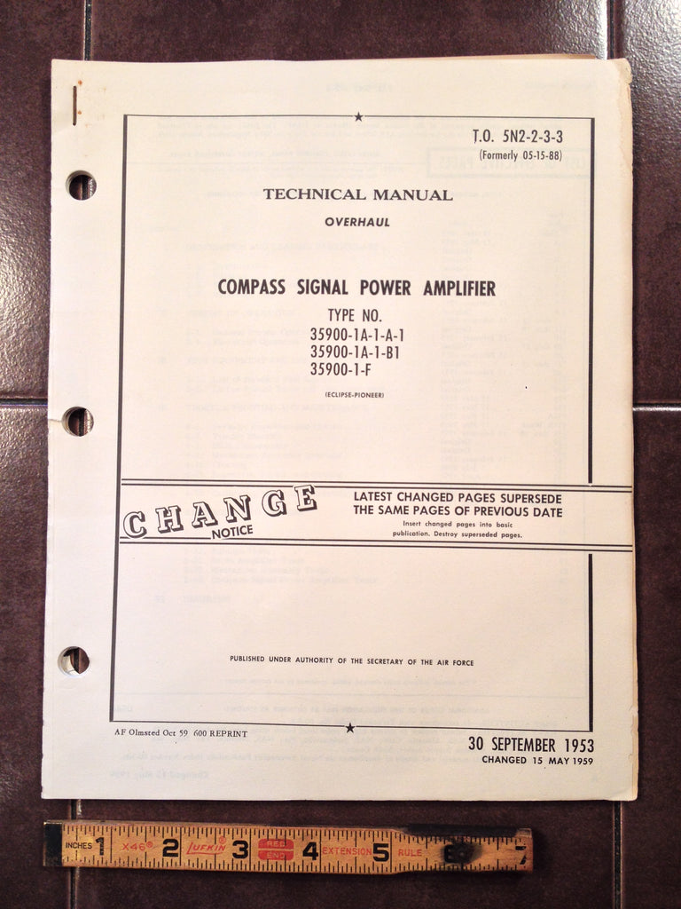 1953 Eclipse-Pioneer Compass Amplifier 35900 Series Overhaul Manual.
