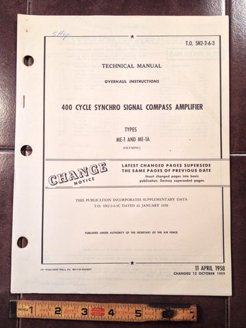 1958 Olympic ME-1 & ME-1A Compass Amplifier Overhaul Manual.