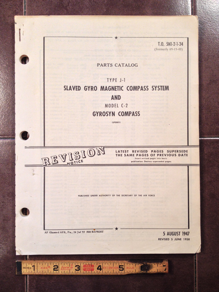 1947 1958 Sperry J-1 Slaved Gyro Compass System & C-2 Gyrosyn Compass Parts Manual.