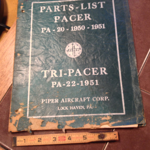 Original 1950, 1951 Piper Pacer PA-20 & 1951 PA-22 Tri-Pacer Parts Manual.