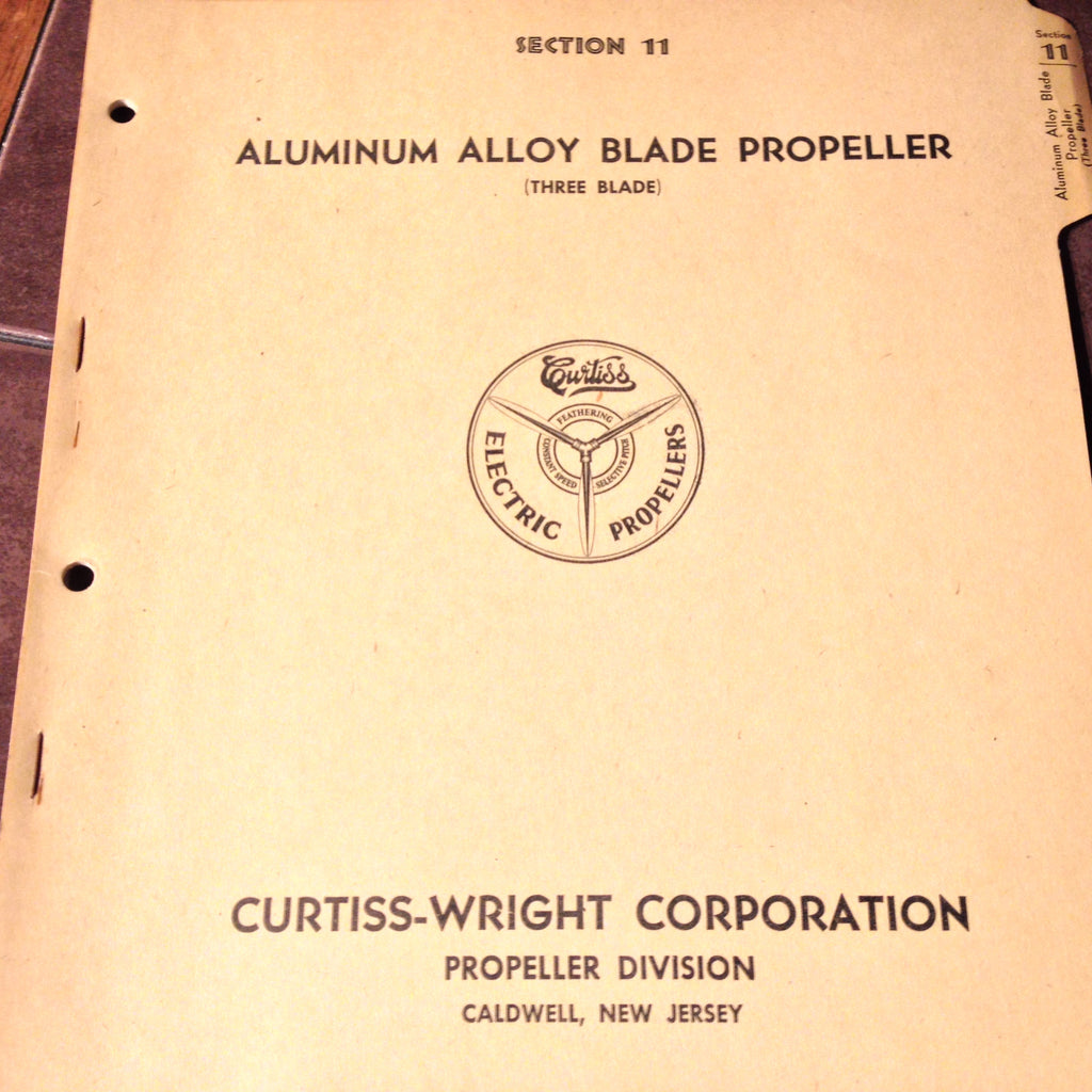 Curtiss-Wright Aluminum Alloy 3 Blade Electric Propeller Install & Service Manual. Circa 1943.