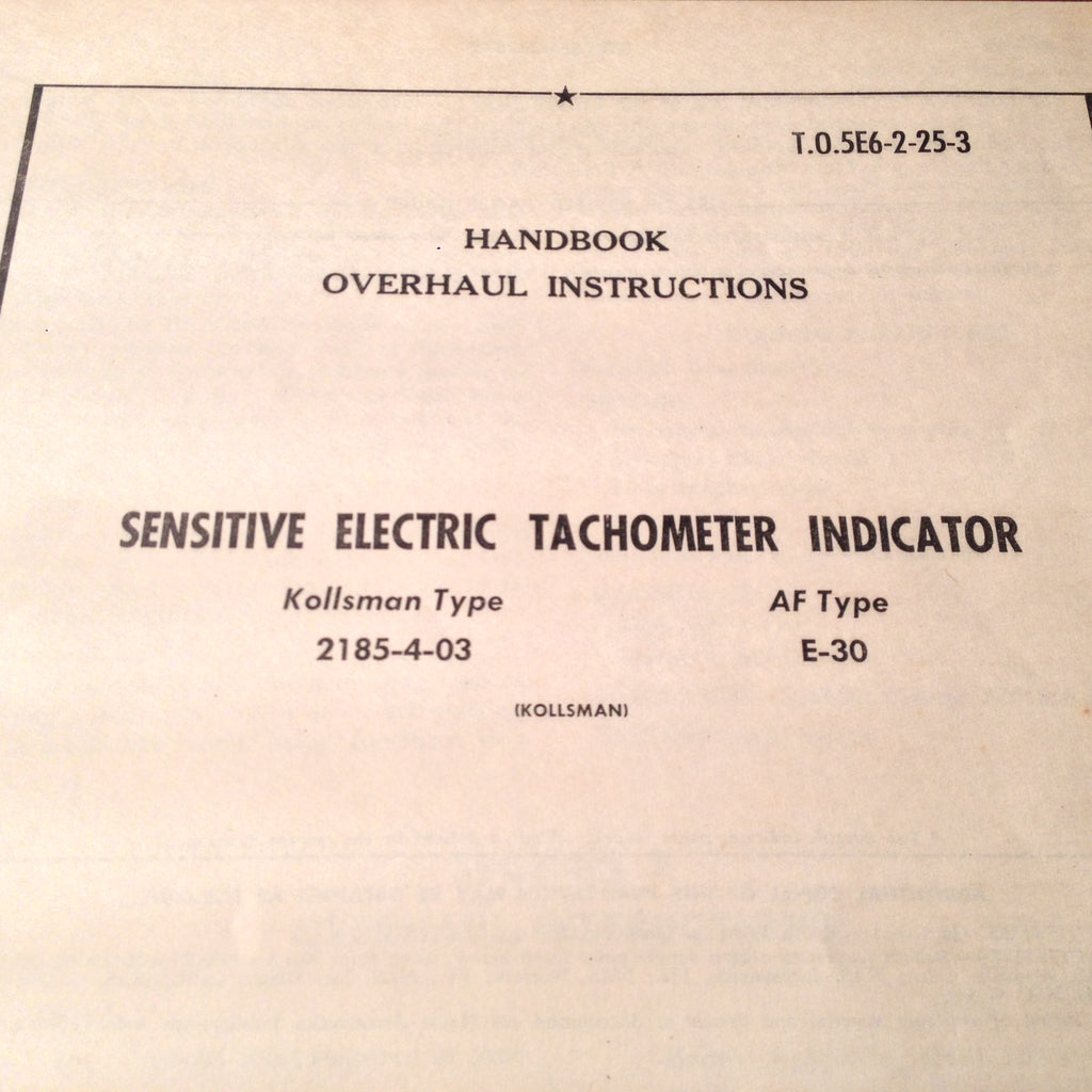 1955 Kollsman 2185-4-03 Tachometer Overhaul Manual.