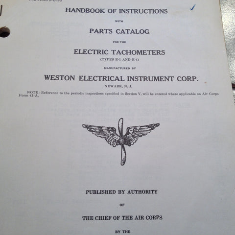 1939 1941 Weston Tachometer E-1 & E-4 Instruction & Parts Manual.