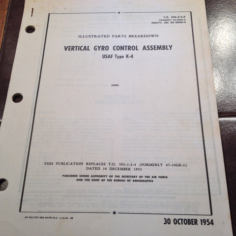 1954 Lear K-4 Vertical Gyro Control Assembly Parts Manual.