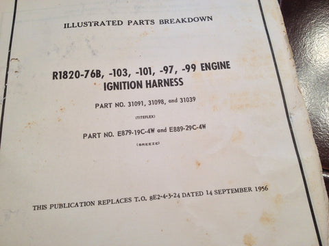 Wright R1820-76B/103/101/97/99 Engine Ignition Harness Parts Manual.