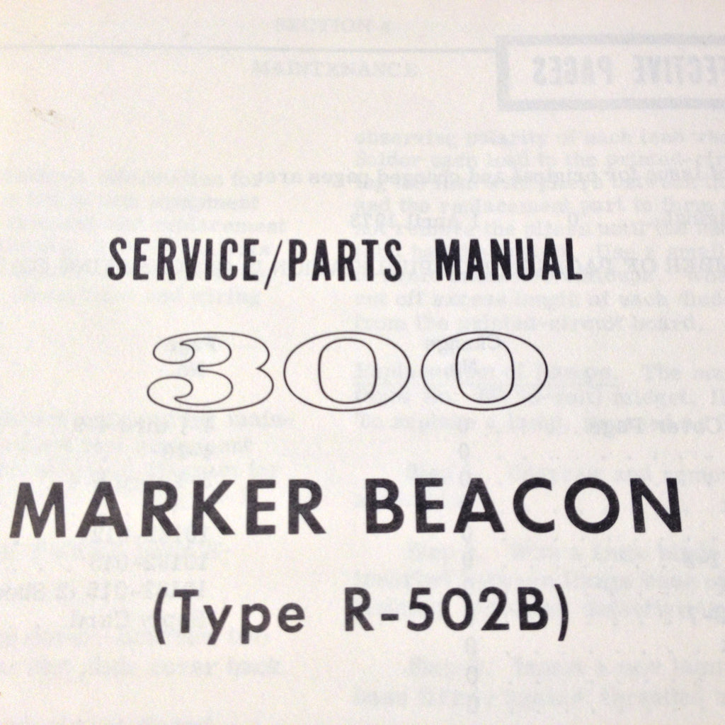 Cessna ARC R-502B Marker Beacon Service Manual.  Circa 1973.