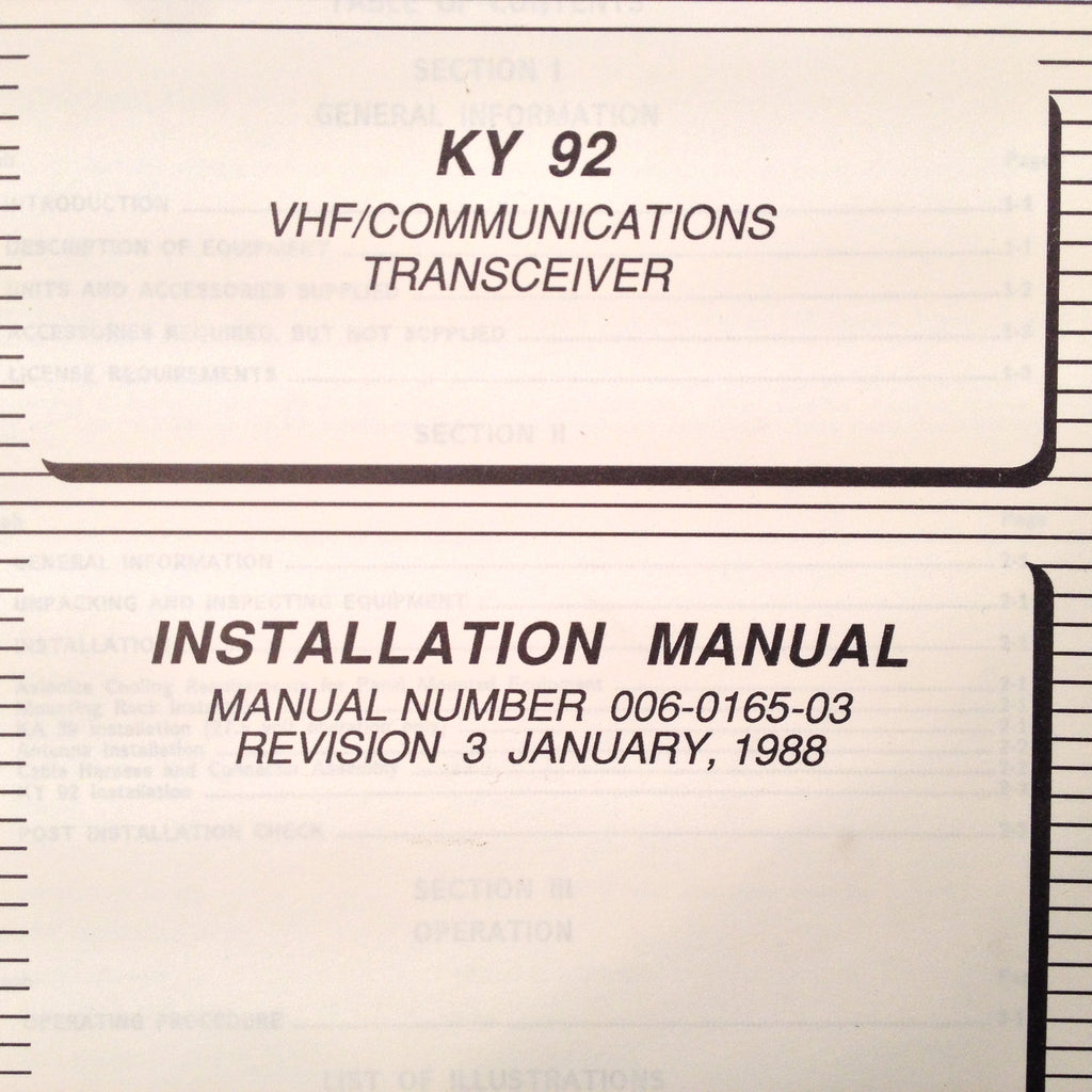 King. King KY-92 Com Install Manual.