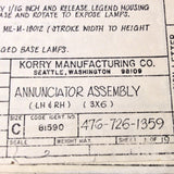 Korry Manufacturing 476-726-1359 Annunciator Install Data Sheets. Circa 1976.
