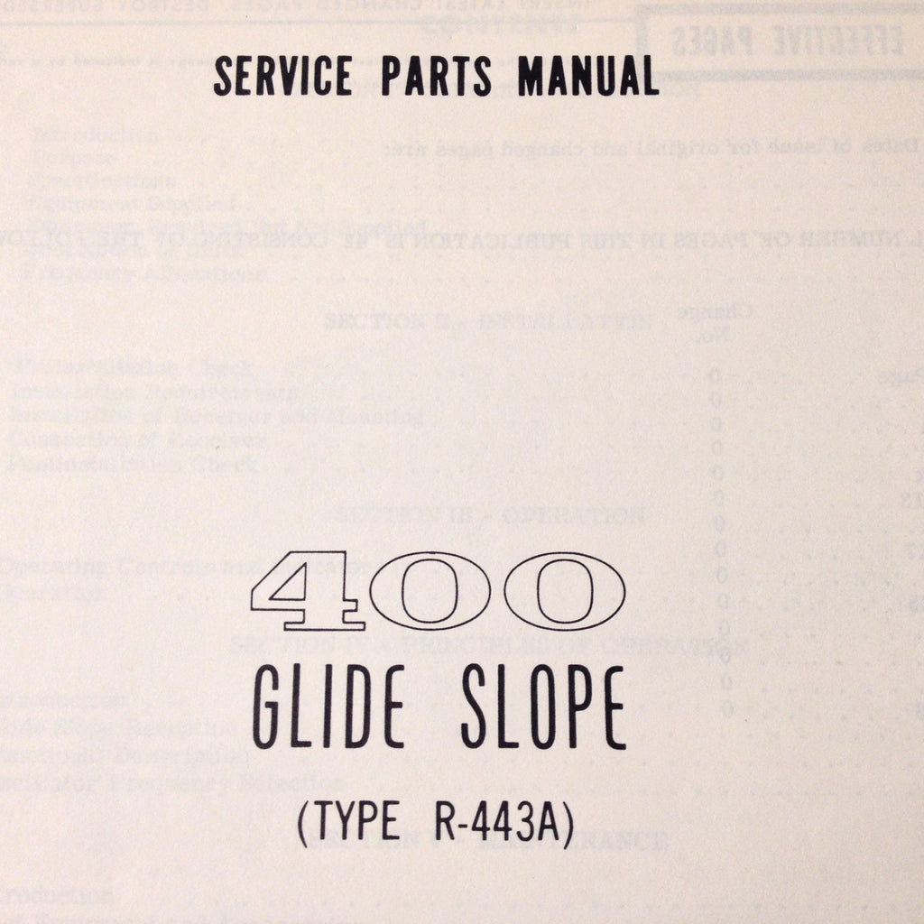 Cessna ARC R-443A Glideslope Install & Service Manual.  Circa 1972.