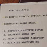 Bell Helicopter Model 47G Pilot's Checklist.  Circa 1960.