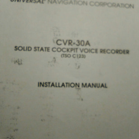 Universal CVR-30A Cockpit Voice Recorder Install Manual.
