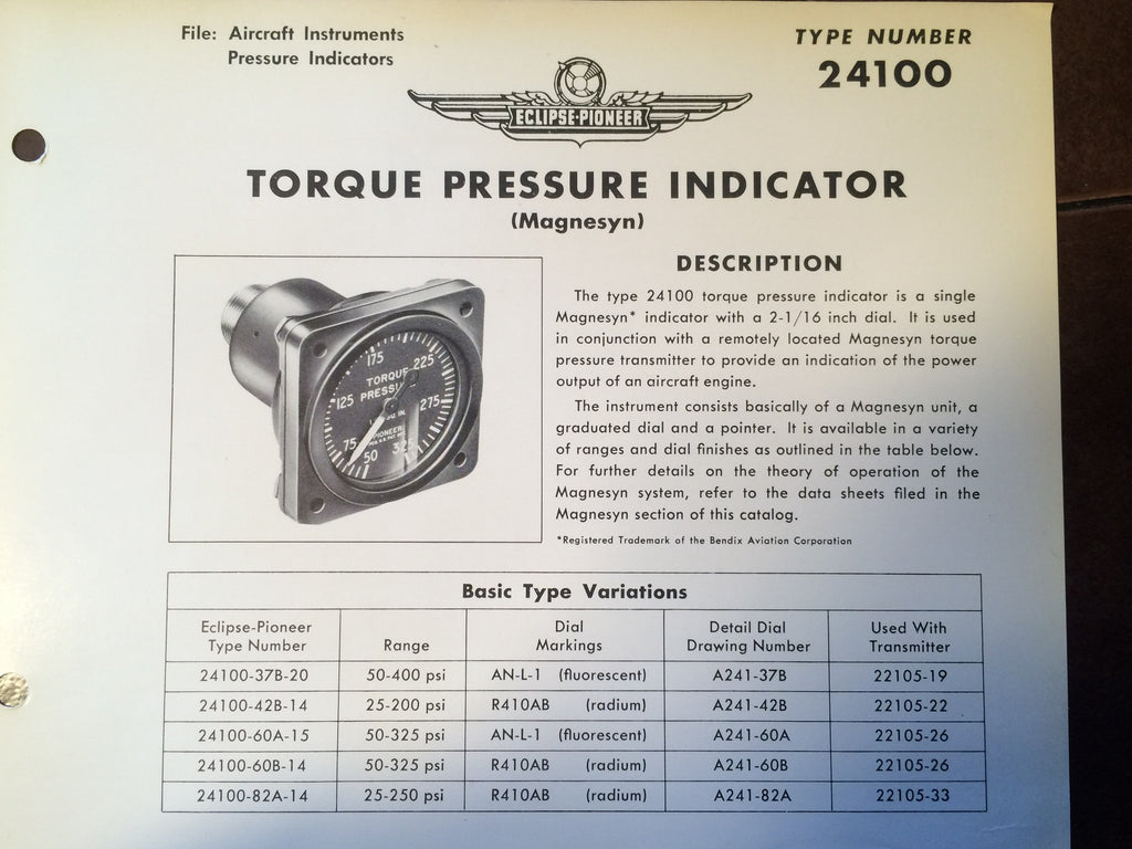 Bendix Eclipse-Pioneer Torque Pressure Indicator Magnesyn Type 24100 Description & Interconnect Pin-outs Data Sheet.  Circa 1956.