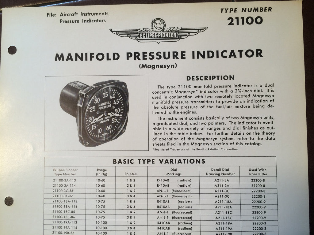 Bendix Eclipse-Pioneer Manifold Pressure Indicator Magnesyn Type 21100 Description & Interconnect Pin-outs Data Sheet.  Circa 1956.
