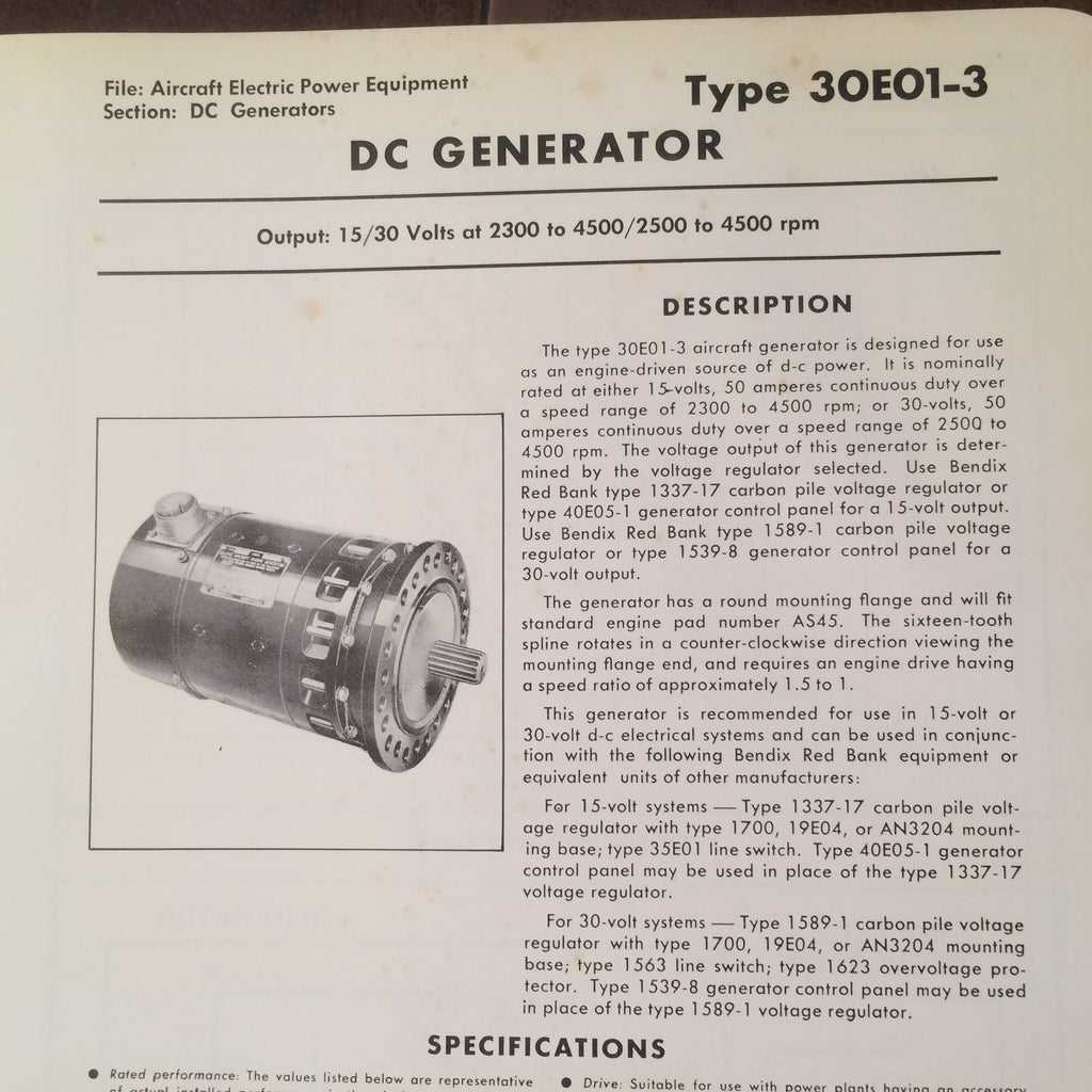Bendix Red Bank Dc Generators Type 30e01 3 Description Types Of