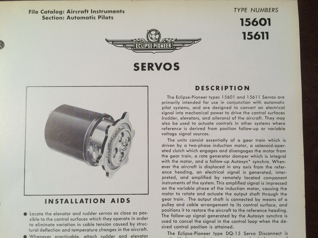 Bendix Eclipse Pioneer Servo Type 15601 & 15611 Description & Internal Schematic Data Sheet.  Circa 1956.