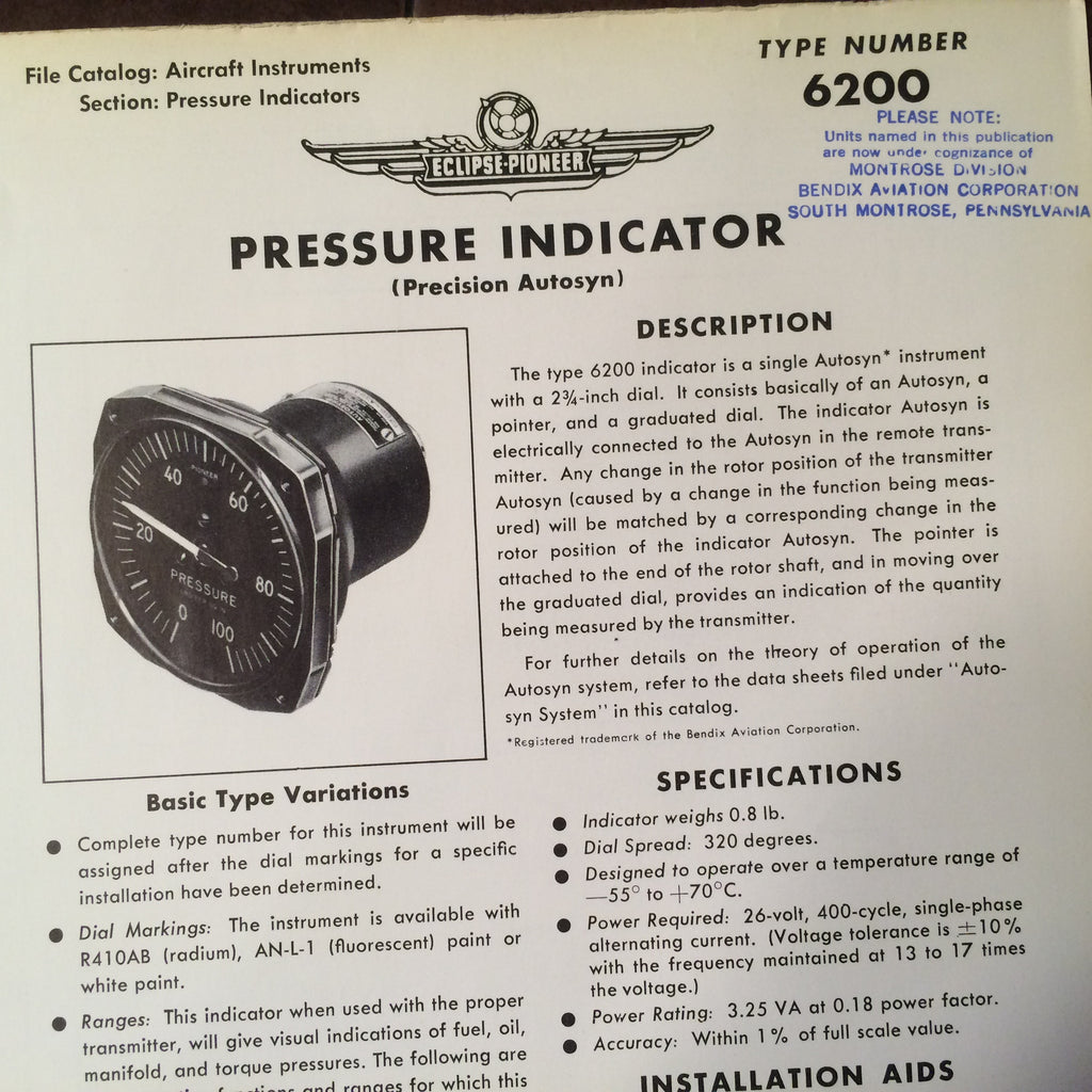 Bendix Eclipse Pioneer Pressure Indicator Autosyn Type 6200 Description & Interconnect Pinout Data Sheet.  Circa 1956.
