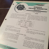 Bendix Eclipse Pioneer Hydraulic Pressure Transmitter Magnesyn Type 22300 Description & Interconnect Pinout Data Sheet.  Circa 1956.