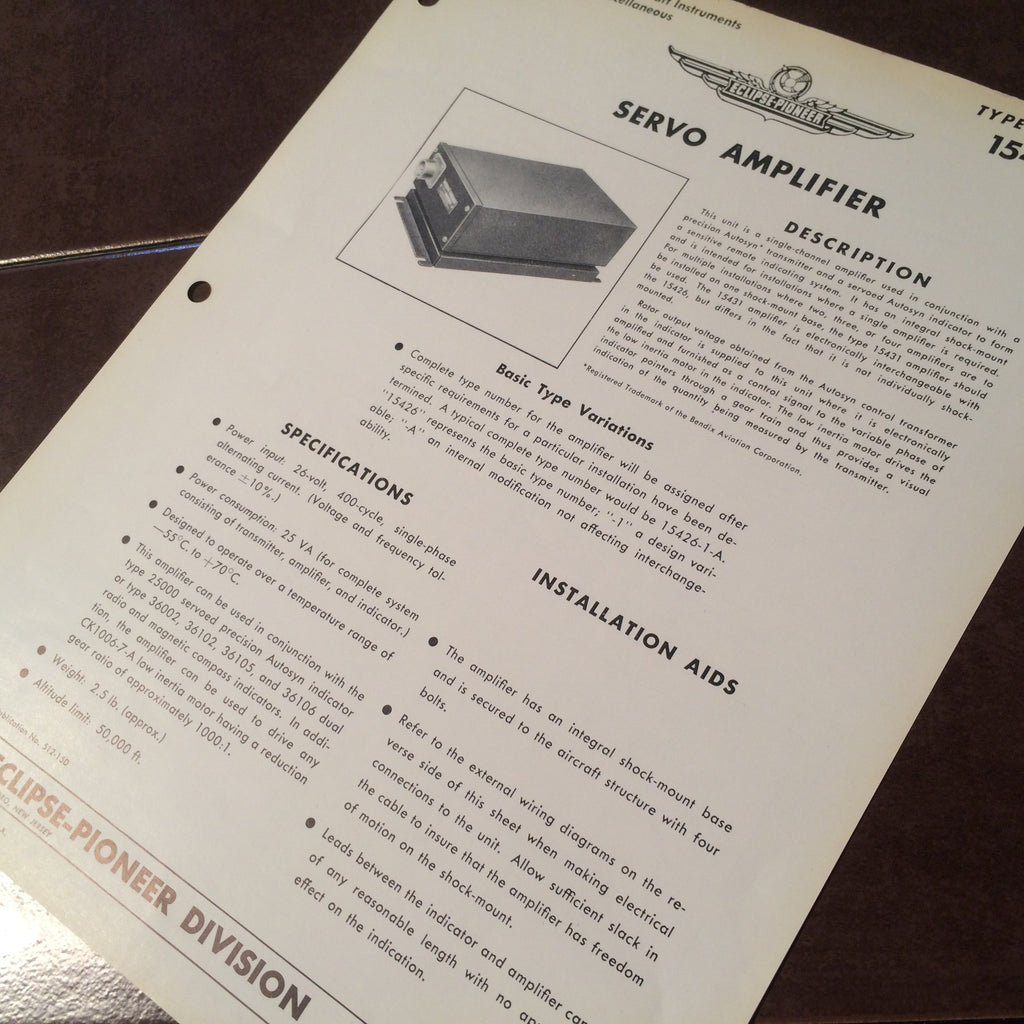 Bendix Eclipse Pioneer Servo Amplifier Type 15426 Description & Interconnect Pinout Data Sheet.  Circa 1956.
