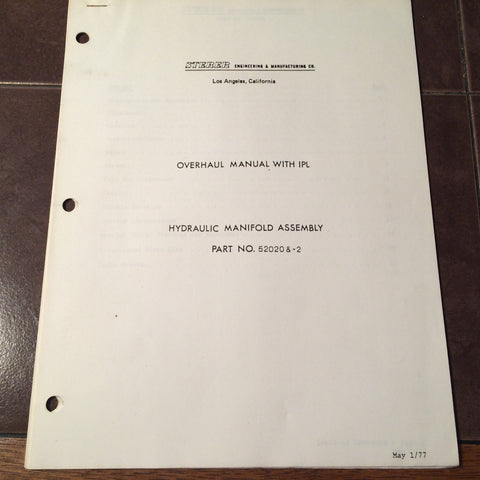 Sterer 52020 and 52020-2 Manifold Assembly Overhaul & Parts Manual.  Circa 1977.