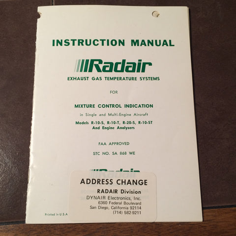 Radair Single & Twin EGT Install Manual for R-10-S, R-10-T, R-20-S & R-10-ST.  Circa 1971.