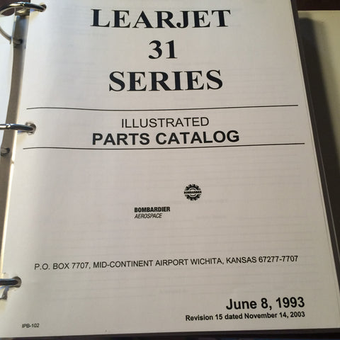 LearJet 31 Series Parts Manual.