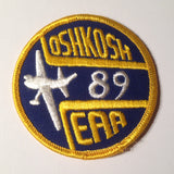 "Original EAA Oshkosh 1989 Patch.  Never used 3"" Cloth."