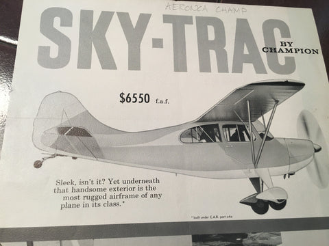 "Original Champion ""SKY-TRAC"" Single Sheet, Sales Brochure, 8.5x11""."