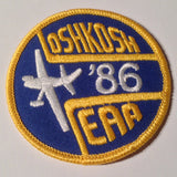 "Original EAA Oshkosh 1986 Patch.  Never used 3"" Cloth."