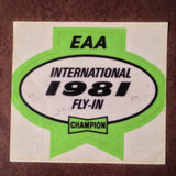 "Original EAA Oshkosh 1981 Decal.  Never used 2.75"" Plastic Champion Spark Plug issue."