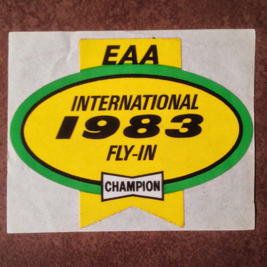 "Original EAA Oshkosh 1983 Decal.  Never used 2.75"" Plastic Champion Spark Plug issue."