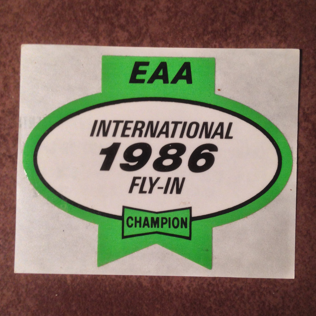 "Original EAA Oshkosh 1986 Decal.  Never used 2.75"" Plastic Champion Spark Plug issue."