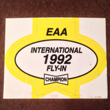 "Original EAA Oshkosh 1992 Decal.  Never used 2.75"" Plastic Champion Spark Plug issue."