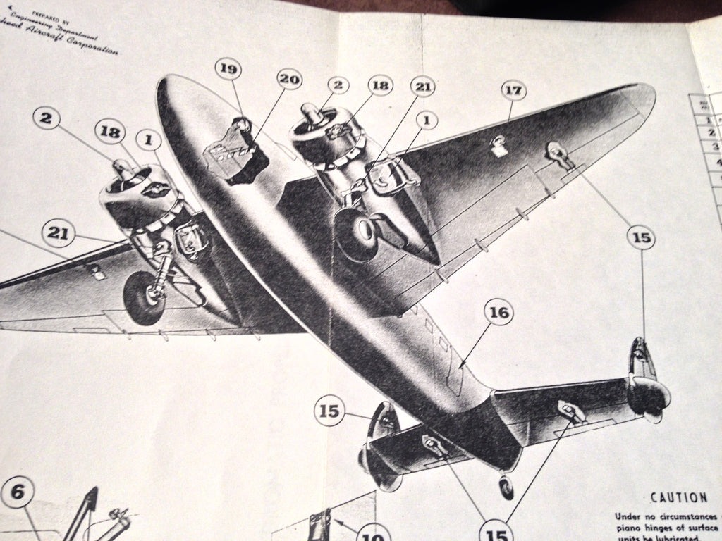Lockheed Lodestar Model 18-56, C-60, C-60A Service Manual.  Circa 1940.