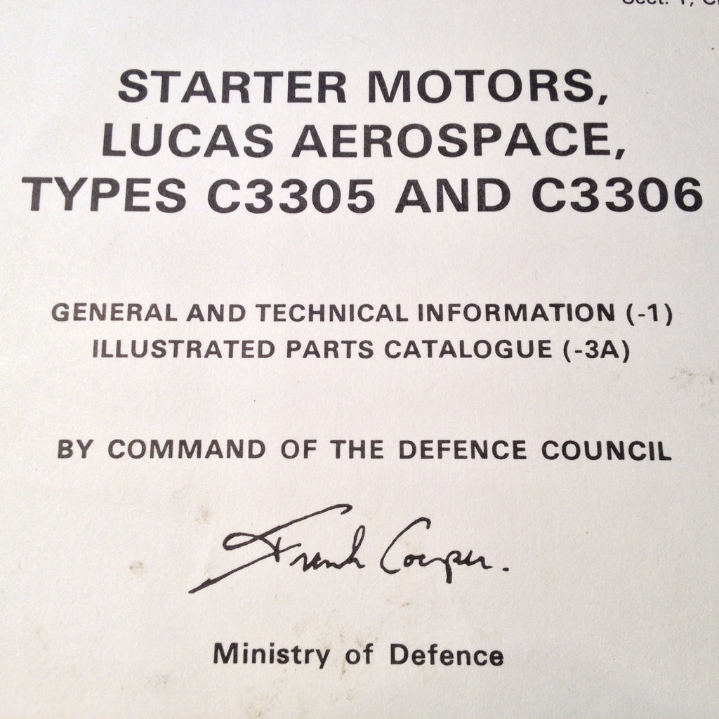 Lucas Starter Motor C3305 & C3306 Technical Manual.  Circa 1976.