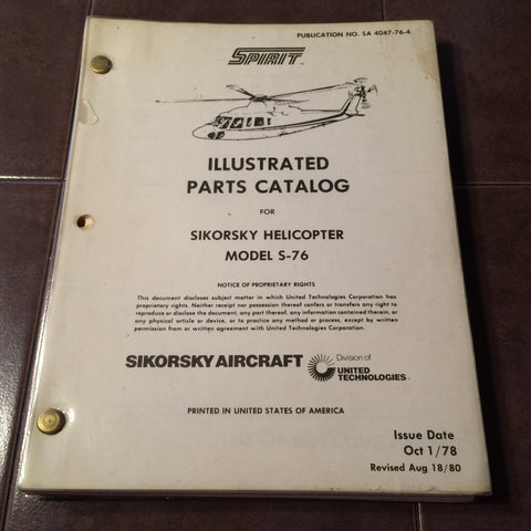 Sikorsky S-76 Parts Manual.
