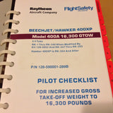 FlightSafety Raytheon Beechjet/Hawker 400XP, Model 400A Pilot Checklist. Circa 2006