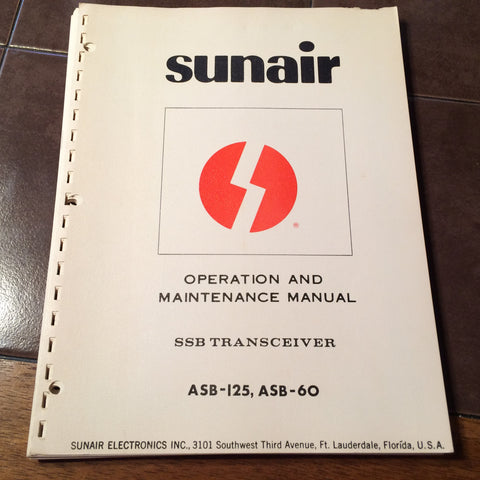 Sunair ASB-125 and ASB-60 Install, Operation & Service Parts Manual.  Circa 1971.