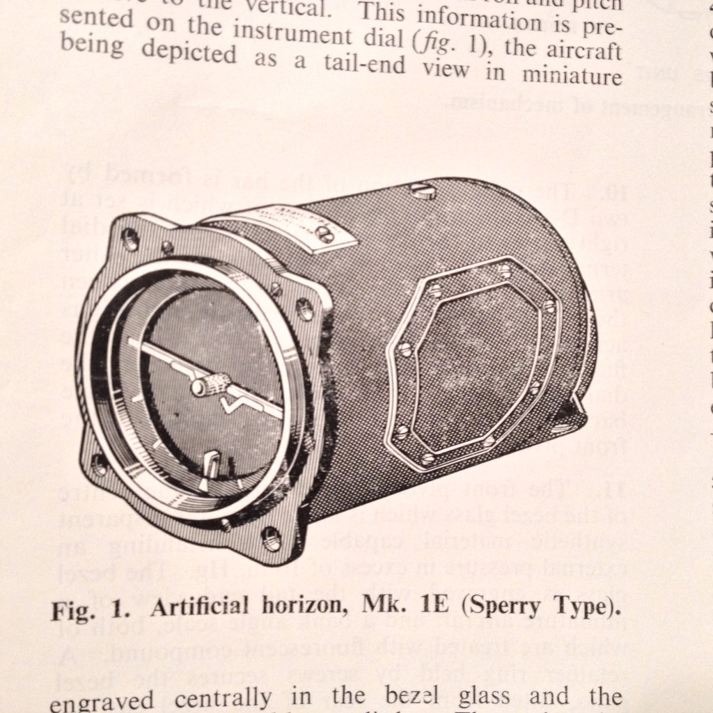 Artificial Horizon Gyro Mk. 1E Technical Manual.  Sperry, Smith, Circa 1969.