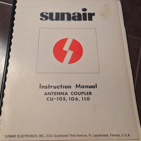Sunair Antenna Coupler CU-105, CU-106 & CU-110 Install, Service Parts Manual.