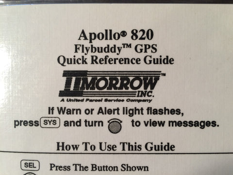 IIMorrow Apollo 820 Flybuddy GPS Laminated Quick Reference Guide.  Circa 1980, 1990.